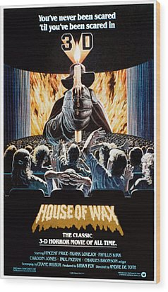 House Of Wax, Reissue Poster Art, 1953 Wood Print by Everett
