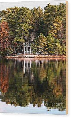 House On The Lake Wood Print by John Rizzuto