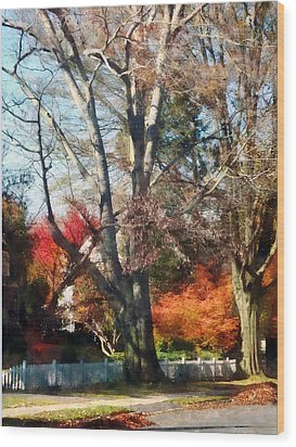 House With Picket Fence In Autumn Wood Print by Susan Savad