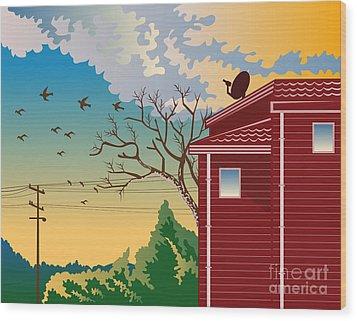 House With Satellite Dish Retro Wood Print by Aloysius Patrimonio
