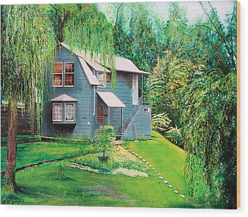 Wood Print featuring the painting House Woodstock Ny by Stuart B Yaeger