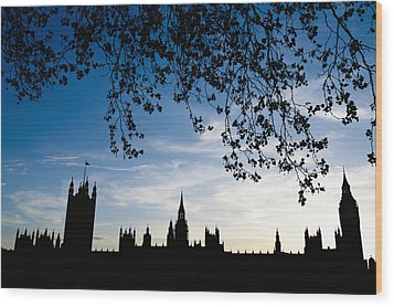 Houses Of Parliament Silhouette Wood Print by Axiom Photographic
