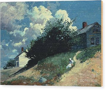 Houses On A Hill Wood Print by Winslow Homer