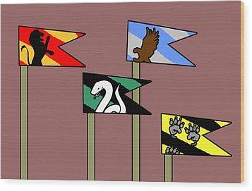 Hp House Flags Wood Print by Jera Sky