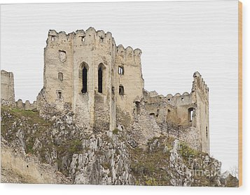 Wood Print featuring the photograph Hrad Beckov Castle by Les Palenik