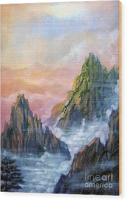 Huangshan Sunrise Wood Print