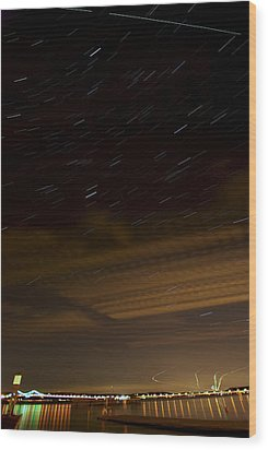 Hudson Star Trails Wood Print by Mike Horvath
