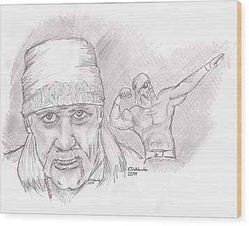 Wood Print featuring the drawing Hulk Hogan- Immortal by Chris  DelVecchio