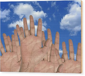 Human Hands And The Sky, Conceptual Image Wood Print by Victor De Schwanberg