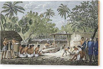 Human Sacrifice In Tahiti, Artwork Wood Print by Sheila Terry
