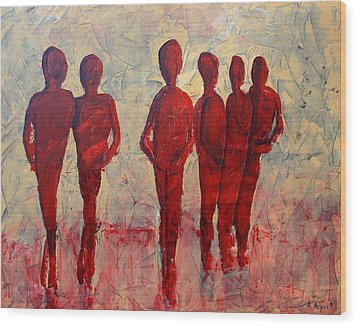 Humans Wood Print by Andrea Meyer
