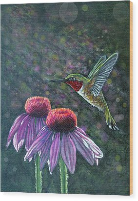 Hummingbird And Cone Flowers Wood Print by Diana Shively