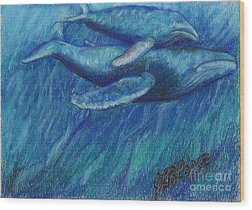 Humpback Whale Mother And Calf Wood Print by Jamey Balester