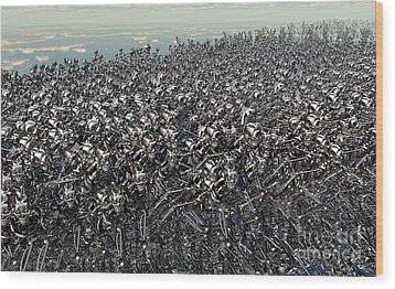 Hundreds Of Robots Running Wild Wood Print by Mark Stevenson