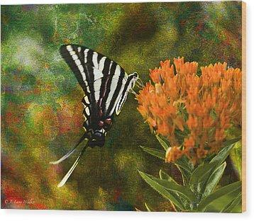 Hungry Little Butterfly Wood Print by J Larry Walker
