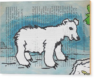 Hungry Polar Bear Wood Print by Jera Sky