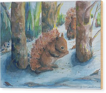 Hungry Red Squirrels Wood Print by Barbara McGeachen