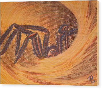 Hunter In Hiding Wood Print by Thomas Maynard