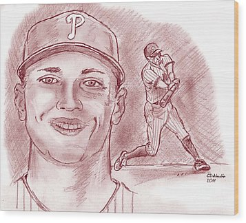 Wood Print featuring the drawing Hunter Pence by Chris  DelVecchio
