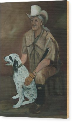 Hunting Dog And Master Wood Print by Betty Pimm