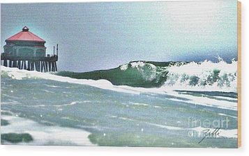 Huntington Wave Wood Print