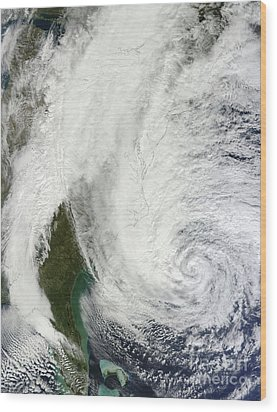 Hurricane Sandy Off The Southeastern Wood Print by Stocktrek Images