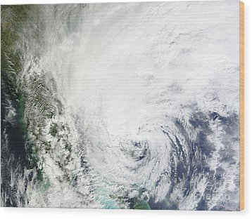 Hurricane Sandy Over The Bahamas Wood Print by Stocktrek Images