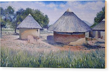 Huts At Pelegano Botswana 2008 Wood Print by Enver Larney