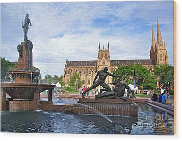 Hyde Park Fountain And St. Mary's Cathedral Wood Print by Kaye Menner