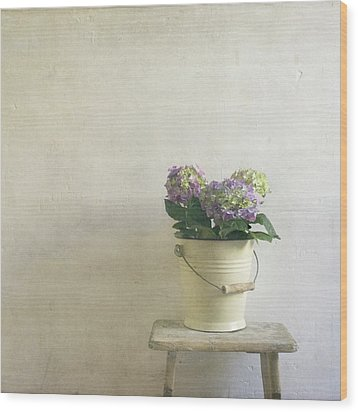 Hydrangea Resting On Stool Wood Print by Paul Grand Image