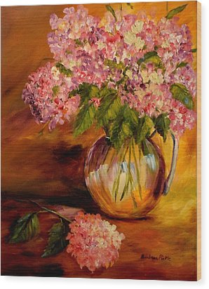 Hydrangeas From The Garden Wood Print by Barbara Pirkle