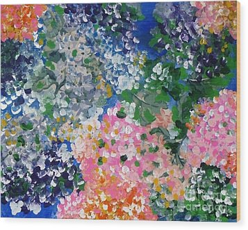 Wood Print featuring the painting Hydrangeas I by Alys Caviness-Gober