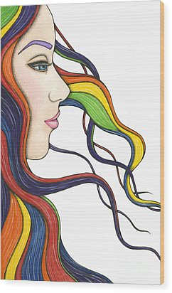 I Am My Own Rainbow Wood Print by Nora Blansett