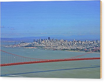 Wood Print featuring the photograph I Don't See No Stinkin' Fog Golden Gate San Francisco California by Duncan Pearson