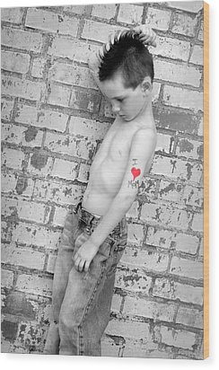 I Heart Mom Wood Print by Kelly Hazel