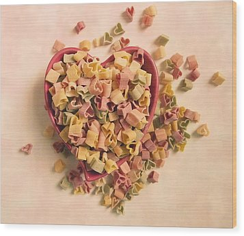 Wood Print featuring the photograph I Heart Pasta by Robin Dickinson