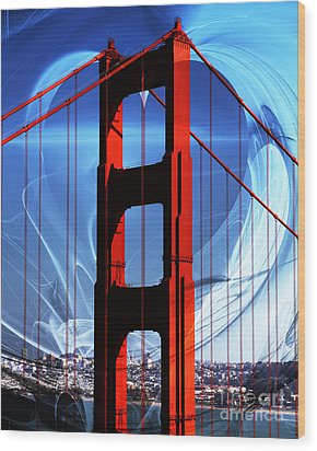I Left My Heart In San Francisco . Golden Gate Bridge Wood Print by Wingsdomain Art and Photography
