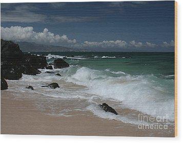 i miha kai i ka aina Hookipa Beach Maui North Shore Hawaii Wood Print by Sharon Mau