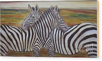 Wood Print featuring the painting I Think Its This Way by Julie Brugh Riffey
