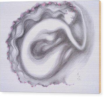 Wood Print featuring the drawing I Walk Alone by Marat Essex