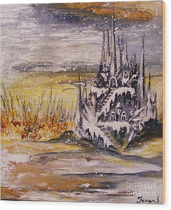 Wood Print featuring the painting Ice Castle by Karen  Ferrand Carroll