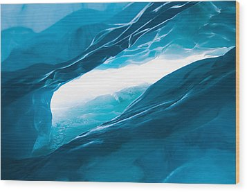 Ice Cave On The Glacier Wood Print by John White
