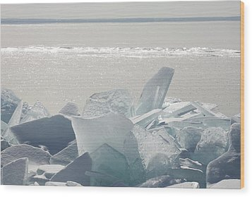 Ice Chunks On The Shores Of Lake Wood Print by Susan Dykstra