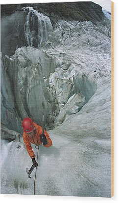 Ice Climber On Steep Ice In Fox Glacier Wood Print by Colin Monteath