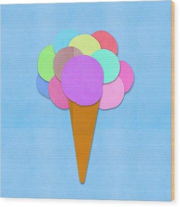 Ice Cream On Hand Made Paper Wood Print by Setsiri Silapasuwanchai
