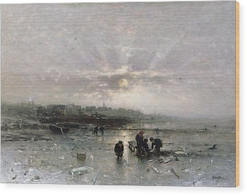 Ice Fishing Wood Print by Ludwig Munthe