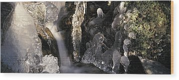 Ice Is Enrusting A Waterfall Wood Print by Ulrich Kunst And Bettina Scheidulin