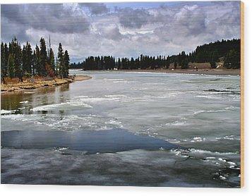 Ice On The Yellowstone River Wood Print by Ellen Heaverlo