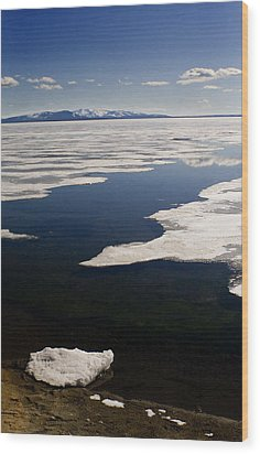 Wood Print featuring the photograph Ice On Yellowstone Lake by J L Woody Wooden