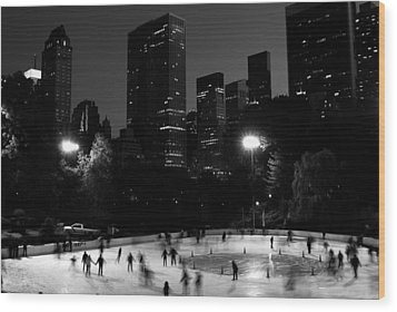 Wood Print featuring the photograph Ice Skating In Central Park by Michael Dorn